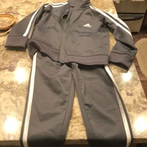 Boys 4t Adidas tracksuit gray and White